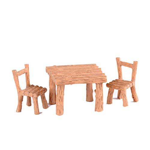 Meisijia 3PCS Tisch Stuhl Harz-Fertigkeit Micro Landschaft Ornament Feegarten Miniatur Terrarium Figurine Dekoration