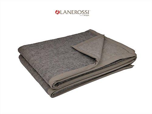 LANEROSSI Decke aus Wolle Winter Art. Thema 100% Schurwolle Einzelbild 160x 210Var.0005grau/ecru