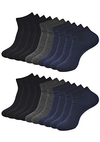 BALENZIA Men's Plain/Solid Ankle Length Socks, Made with 100% Combed Cotton & Spandex (Multicolour)- Assorted Combo Pack of 10 (Free Size)(Black,Navy, Dark Grey)
