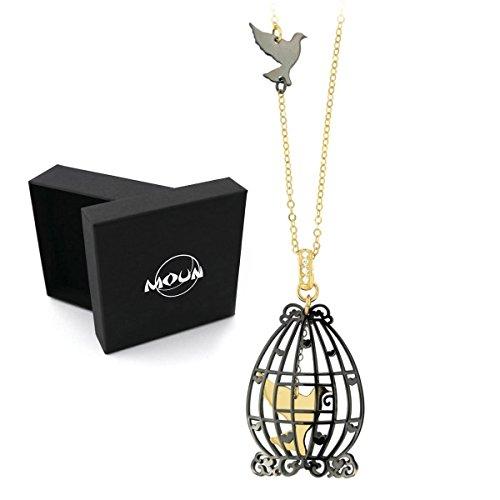 Collana Liberty con pendente Gabbia con uccellino in Argento 925 rodiato e placcato oro. Originale MOUN. Spedizione gratuita con corriere.