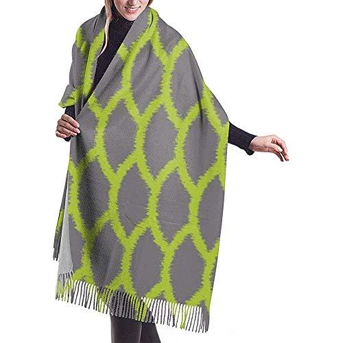 H.D. Pashmina Schal Frauen Weiche Jakobsmuschel Ikat Chartreuse Grau Kaschmir Schals Stilvolle Große Warme Decke Winter Schal Wickeln
