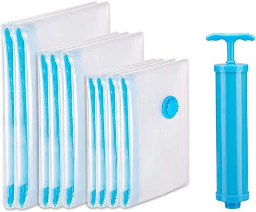 Cevadama Vacuüm Tassen Opslag Dekbedovertrek Kleding 9 Pakket (2 Jumbo, 3 Grote, 4 Medium) Compressie Tas met Handmatige Pomp voor Reizen Camping Huis Verplaatsen