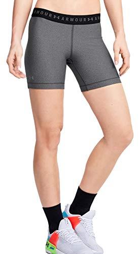 Under Armour Women's HeatGear Middy Shorts (Charcoal Light Heather/Metallic Silver, Small) (0.05 Lb Light)