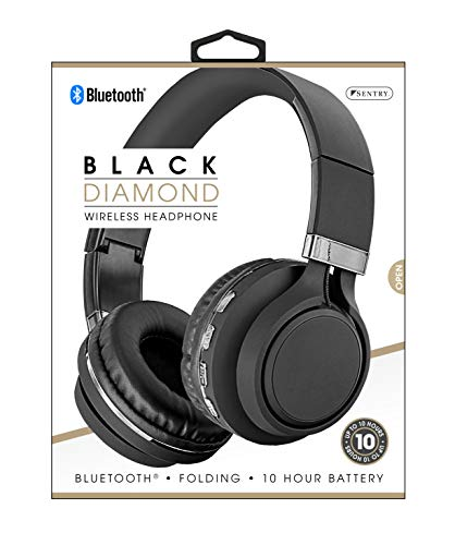 Sentry Black Diamond Black/Silver Wireless Folding Headphones, BLW-BT302