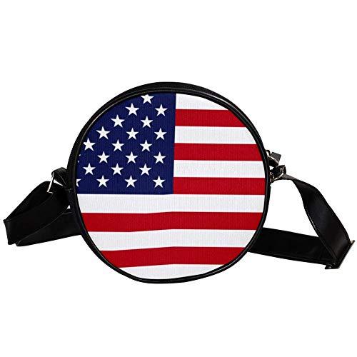 Bennigiry Umhängetasche, rund, USA-Flaggen-Druck, Schultertasche, Tragegriff, Handtasche für Damen