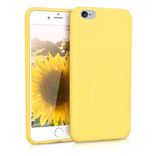 kwmobile Funda Compatible con Apple iPhone 6 Plus / 6S Plus - Carcasa de TPU Silicona - Protector Trasero en Amarillo Pastel Mate
