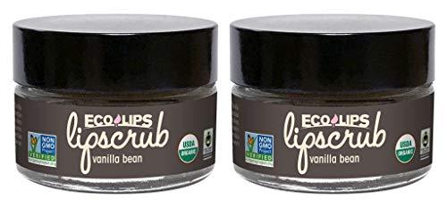 Eco Lips LIP SUGAR SCRUB - Flavor Vanilla Bean - 2 Pack - 100% Organic Lip Care Treatment with Organic Sugar and Coconut Oil - Gently Exfoliate and Polish Dry, Flaky Lips, 100% Edible - 0.5oz jars
