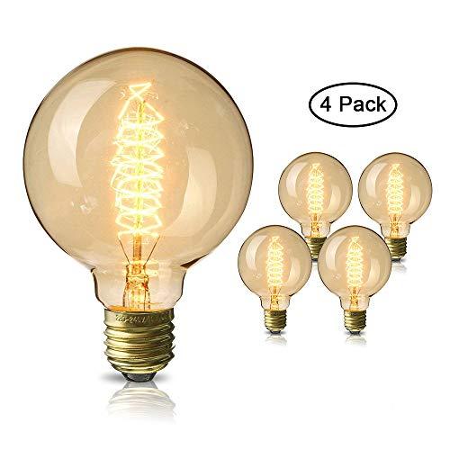 Edison Glühbirne, Mixigoo E27 Vintage Globe Glühlampe 40W G80 Retro Birne Dimmbar Filament Warmweiß Dekorative Glühbirne Ideal für Nostalgie und Antike Beleuchtung - 4 Stück
