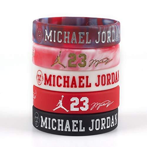 Xlin No. 23 Michael Jordan firmó el Baloncesto Avatar Pulseras de inspiración Aficionados a los Deportes de la Correa de la Mano del Anillo for Recordar a Las Pulseras de Silicona (Color : Red)