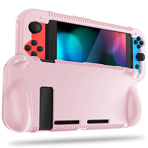 FINTIE Silicone Case Compatible with Nintendo Switch - Soft [Anti-Slip] [Shock Proof] Protective Cover with Ergonomic Grip Design, Drop Protection Grip Case (Pink Sand)