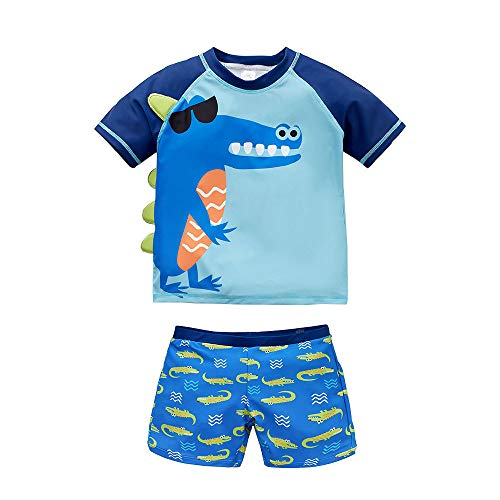 Baby/Toddler Boys Two Piece Swimsuit UPF 50+ Sun Protection Long Sleeve Rashguard Set Bathing Suit