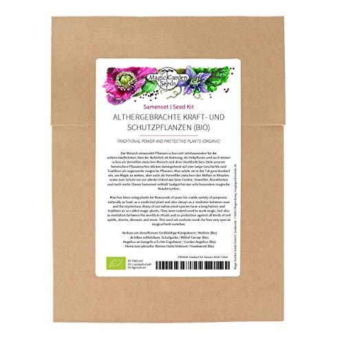 Althergebrachte Kraft- und Schutzpflanzen (Bio) - Samenset mit 4 sehr alten, traditionellen, magischen Kräutersorten