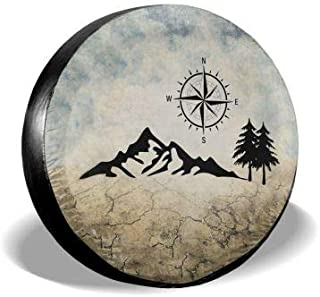 MSGUIDE Nature Mountain Compass Camper Spare Tire Cover for RV Jeep Wrangler Trailer 14 15 16 17 Inch Wheel Water-Proof Dust-Proof Sun Protection