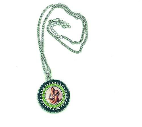 Saphirdesign Halskette mit Wunsch-Motiv-Bild-Logo ( Grünton ). Geeignet als Werbe-Erinnerungs-Geschenk. Das perfekte individuelle Fotogeschenk. Rund