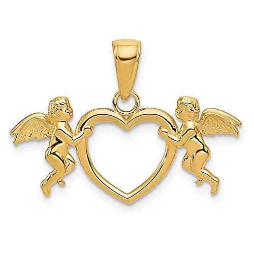 Saris and Things 14k Oro Amarillo Flying querubines Holding corazón Colgante