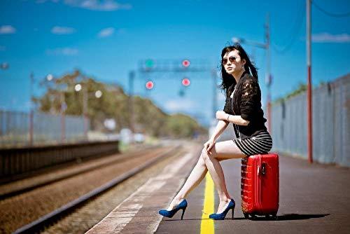 Pintura por número para adultos,kit de pintura DIY por número para principiantes o niños como regalo (16 x 20 in.) sin marco-Bella mujer sentada en una maleta roja