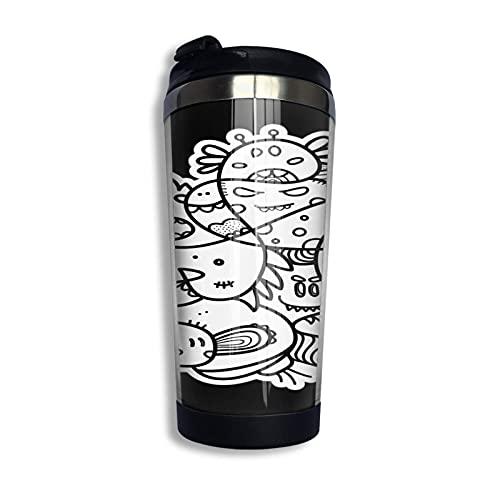 Doodle Hero Duo Pullover Hoodie Coffee Travel Mug Taza Vaso aislado al vacío de acero inoxidable 13.5 oz