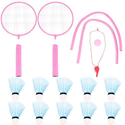 Garneck Conjunto de Bádminton para Niños Raquetas de Raqueta de Tenis Raqueta de Tenis Mesa de Ping Pong Pelota Entrenamiento Deportivo Jugando para Niños Pequeños Rosa