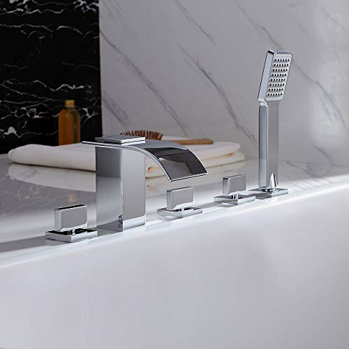 BULUXE Waterfall Roman Tub Filler Faucet in Polished Chrome Finish, 5 Holes 3 Handles Widespread Deck Mounted Bathroom Bathtub Faucet with Hand Shower
