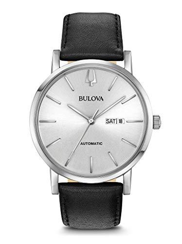 Bulova Herren Analog Automatik Uhr mit Leder Armband 96C130