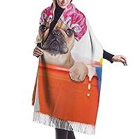 暖かい女性の毛布のスカーフ犬は、泡の背景にゴム製のアヒルのクリーニングのテーマで浴槽に風呂を持っていますスタイリッシュな毛布特大の居心地の良いスカーフラップショール