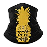 JONINOT Deportes protectores faciales Peace Love Pinneaple cuello calentador transpirable a prueba de viento bufanda de cuello Unisex fiesta bufanda mágica pasamontañas