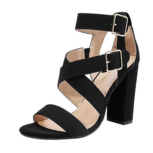 DREAM PAIRS Women's Black Nubuck Ankle Strap Open Toe High Block Heel Sandals Strappy Dress Pump Shoes Size 8.5 B(M) US Gamila