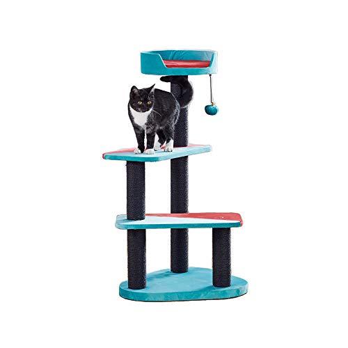 YQQ-Arbre à chat Nid De Chat Cadre d'escalade Cat Plateforme De Saut Rouge + Bleu 50 * 50 * 95cm