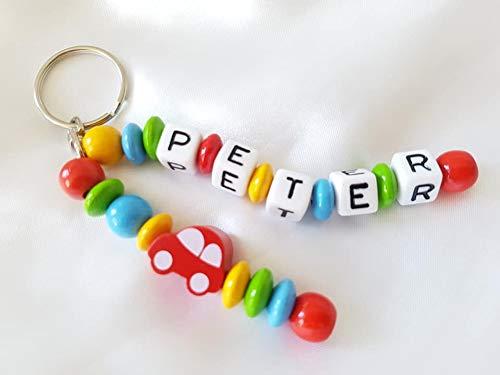 Naamhanger - hanger met naam - baby, kinderen, auto, sleutelhanger, wikkeltas, kleuterschooltas, schooltas (rood, bont, dubbele naam, broers en zus)