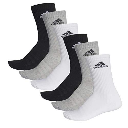 adidas 6 Paar Performance CUSHIONED CREW 3p Tennissocken Sportspocken Unisex, Farbe:032 - grey melange, Socken & Strümpfe:43-45
