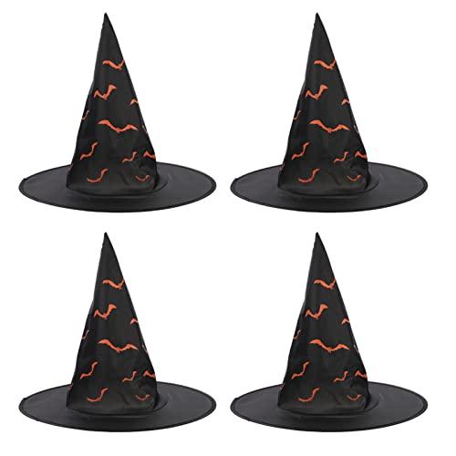 Disfraz de Gorras de Bruja de Halloween: 4 Piezas de Gorras de Bruja de Murcilago Accesorio de Decoraciones de Patio de Bruja para Fiestas de Halloween Navidad Cosplay