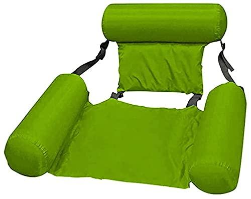 Reclinador de agua inflable, cama flotante inflable plegable para la diversión del agua, respaldo de doble propósito Fila flotante PVC Hamaca de verano Cojín de cojín de aire ( Color : Green )