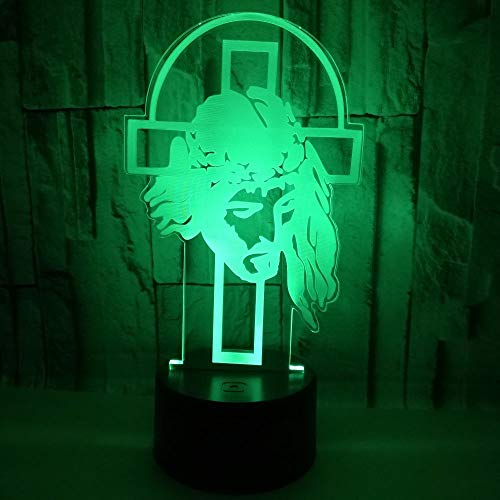 MCJDF Jesus Cross 3D Small Night Light Colorful Touch Thanksgiving Gift Creative 3D Illusion Lamp Christmas Decorations Gift
