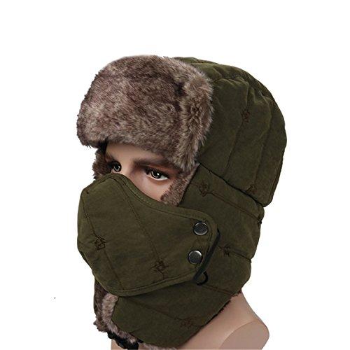 ECYC Unisexe éPais Trapper Hat Hiver Chaud Fausse Fourrure Coupe-Vent avec Masque pour Le Visage, Vert ArméE