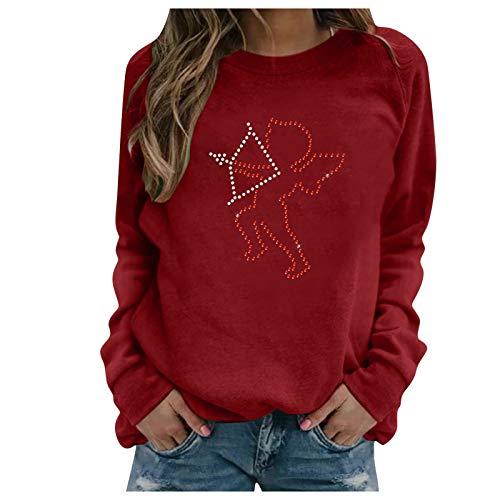 Xmiral Sweatshirt Damen Langarm Love/Herz Gedruckt Rundhals Bluse Oberteile Valentinstag Pullover(f-Rot,S)