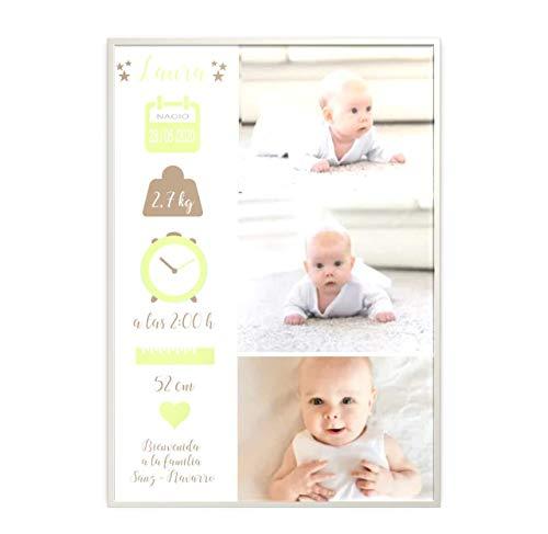 Didart Handmade Regalo para bebé. Cuadro bebe personalizado. Datos de nacimiento. Bautizo Cesta de bebé. Natalicio. Elige colores y dimensiones. Con tus fotos favoritas