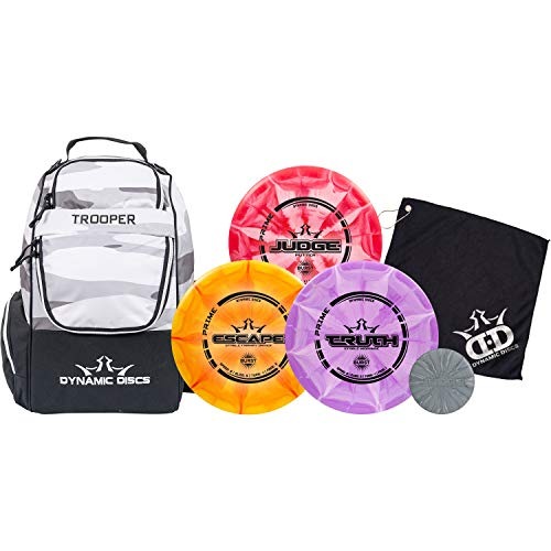 Dynamic Discs Trooper Backpack Prime Burst Disc Golf Starter Set | Dynamic Discs Trooper Disc Golf Bag Included | Prime Burst Judge, Prime Burst Truth, and Prime Burst Escape Included (Heather Gray)