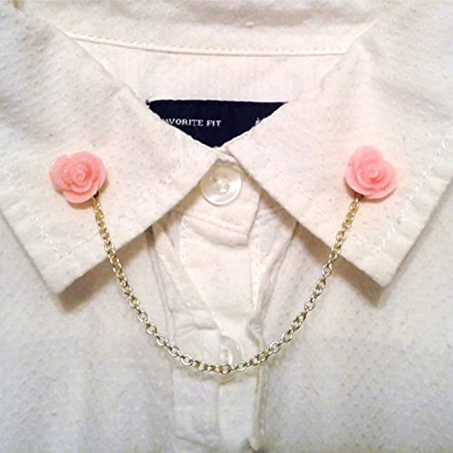 Pink Rose Collar Pins low-pricing Sweater Clips Rapid rise Chain