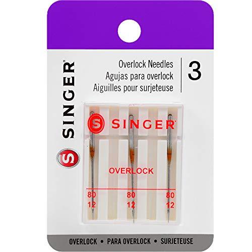 Singer Universal-Overlock-Nadeln mit normaler Spitze für gewebten Stoff, Größe 80/12, 3er-Pack