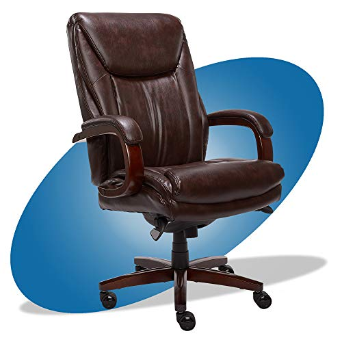 La-Z-Boy Edmonton Big and Tall Executive Office Chair with Comfort Core Cushions, Solid Wood Arms and Base, Waterfall Seat Edge, Bonded Leather, Big & Tall, Brown -  Millwork Holdings Co., Inc., 45764