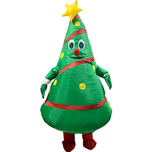 Moonvvin Unisex Adult Christmas Tree Cartoon Costume, Santa Claus Inflatable Clothes Props, Funny Cosplay Blow Up Christmas Costumes Suit