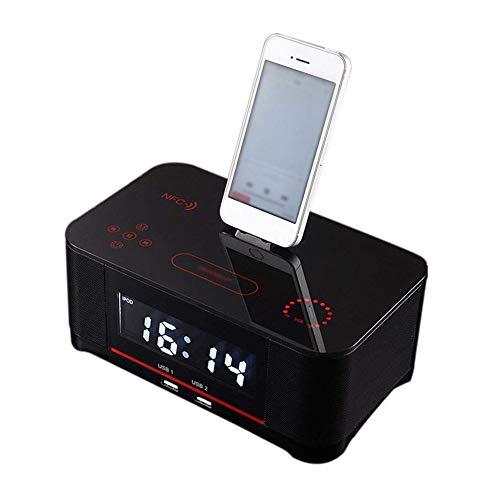 WXGY Digitale Radiowecker mit Dual-Alarm und FM-Bluetooth-4.0-Lautsprecher, Akku-Backup, Schlummer- und Sleep-Timer, großes Display, NFC-Kompatibilität, Dock für iPhone/Ipad/Ipod
