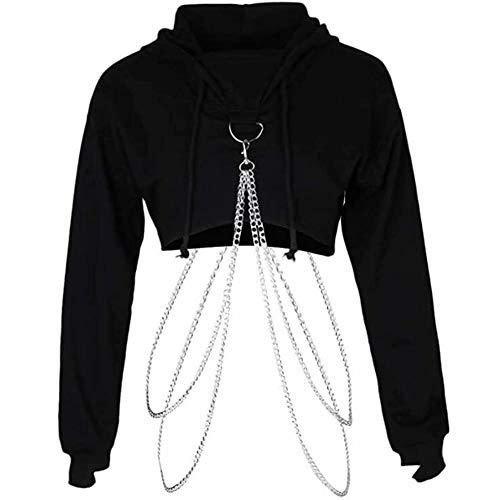 Vrouwen mode lange mouw trui met capuchon Crop Top metalen ketting sweater,Black,M