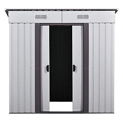 JAXPETY 4' x 6' Storage Shed Box Steel Utility Tool Backyard Garden Lawn Garage Outdoor