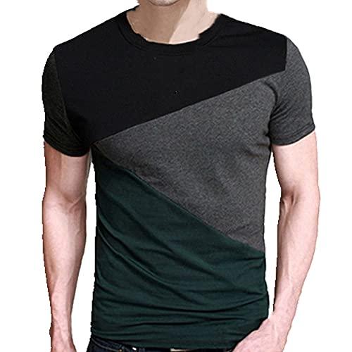N\P Camiseta de manga corta con cuello redondo para hombre, verde, L