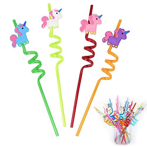 Cannucce di Plastica Unicorno Cannucce Colorate per Bambini Cannucce Ricci Bizzarri Divertenti Paglia a Spirale Colorato Riutilizzabile,Colore Casuale,per Feste di Compleanno per Bambini 20PCS