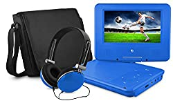 DVD Player, Ematic 7 inch Swivel Blue Portable DVD Player with Matching Headphones and Bag