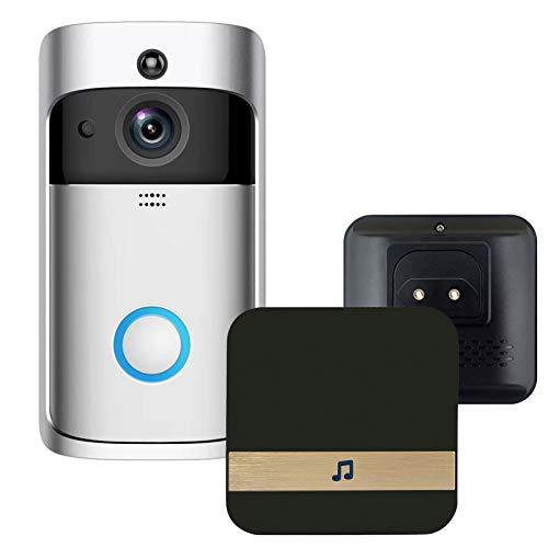 KKmoon Wireless Intelligente Video Türklingel mit Chime Klingel innen WiFi-Funktion Bewegungserkennung 720P Kamera Zwei Wege Gegensprechfunktion Nachtsichtfunktion APP Steuerung