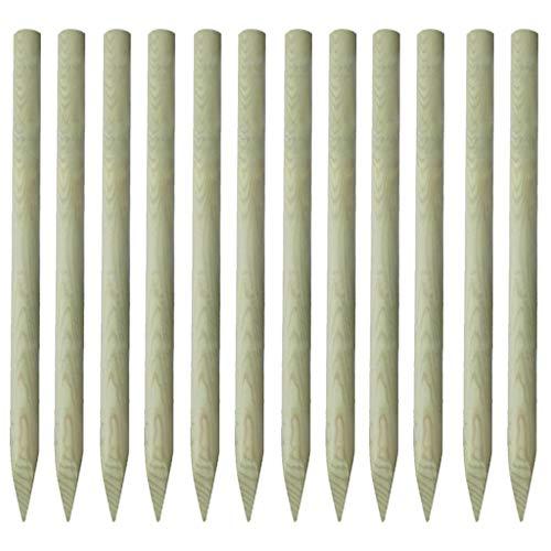 Galapara 12x Zaunpfosten Holzpfosten Angespitzte 5 x 150 cm Zaunpfähle Zaun Holz Pfosten Imprägniertes Zaun-Pfahl für Ihren Staketenzaun/Bauernzaun/Kastanienzaun