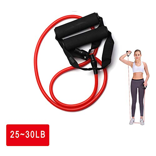 ZSOOQ Workout Resistance Tube Band Anti-snap Exercise Loop Band with Handles (Red)